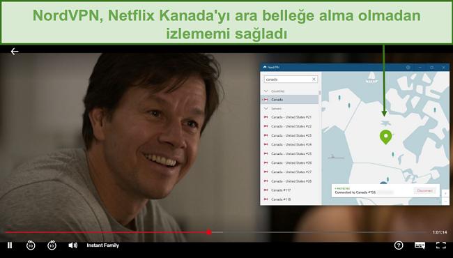 NordVPN'in Anında Aile oynarken Netflix Kanada'nın engelini kaldırmasının ekran görüntüsü