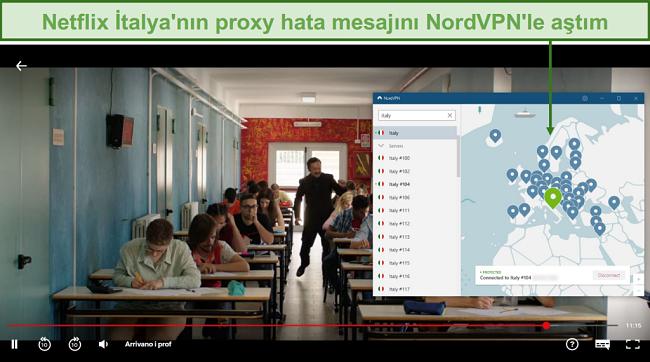 Arrivano i Prof oynarken Netflix İtalya'nın engelini kaldıran NordVPN'in ekran görüntüsü