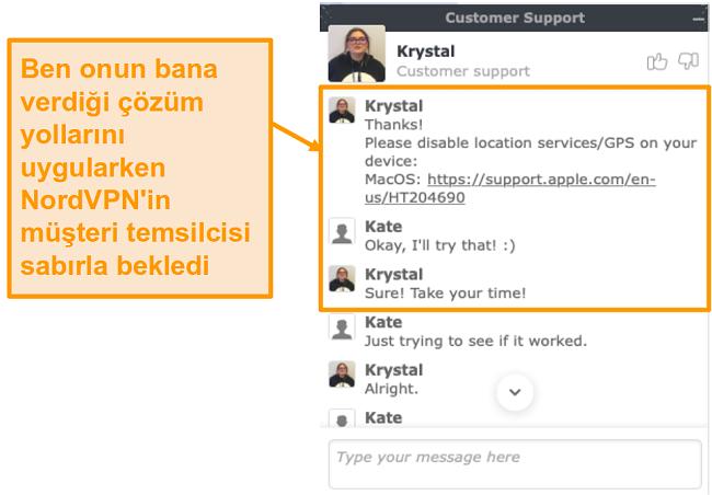 NordVPN müşteri desteği canlı sohbet özelliğinin ekran görüntüsü