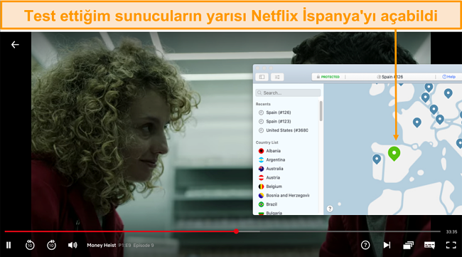 Netflix İspanya'nın Engelini Kaldıran NordVPN Ekran Görüntüsü