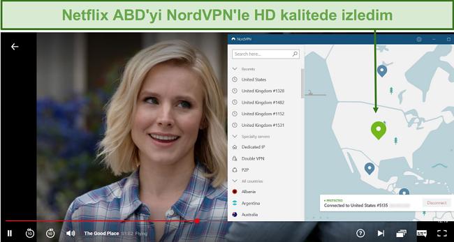 Bir ABD sunucusuna bağlı NordVPN ile Netflix'te The Good Place akışının ekran görüntüsü