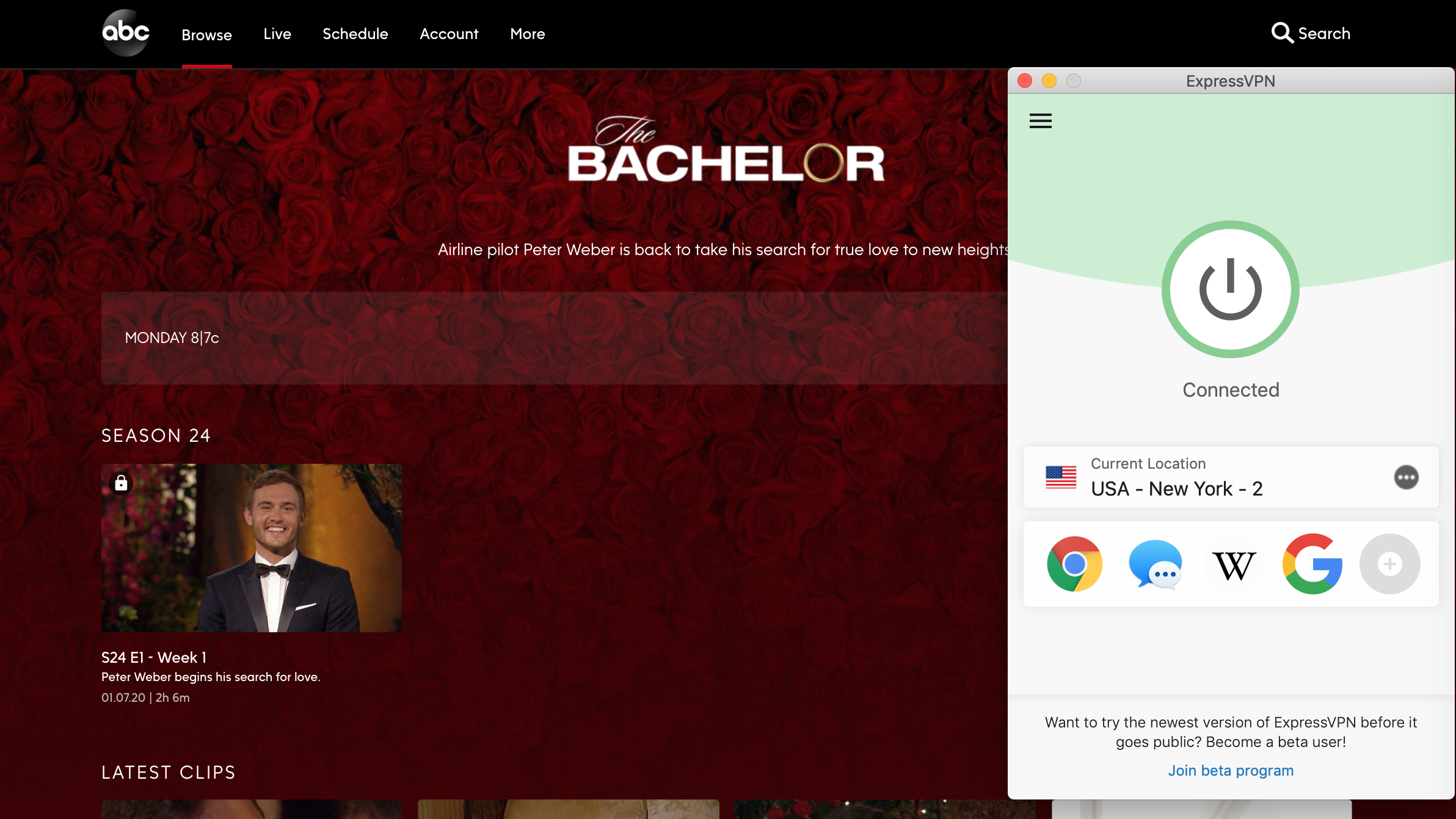 Screenshot of the The Bachelor on ABC with ExpressVPN connected