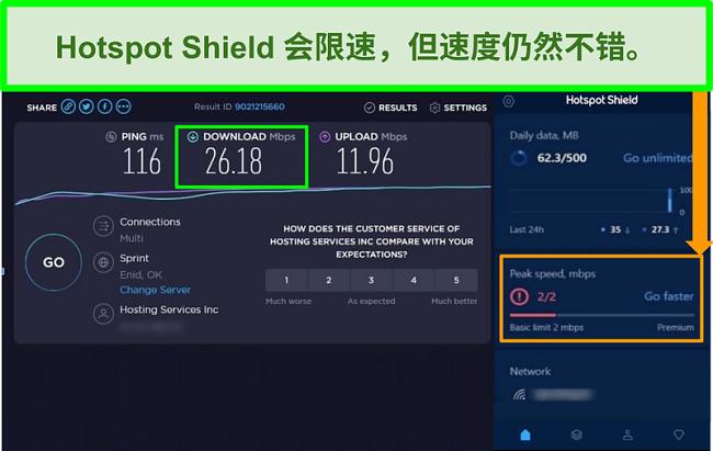 连接到Hotspot Shield界面时速度测试结果的屏幕截图