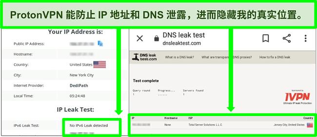DNS和IP地址泄漏测试的屏幕快照,显示连接到ProtonVPN时没有IP地址泄漏