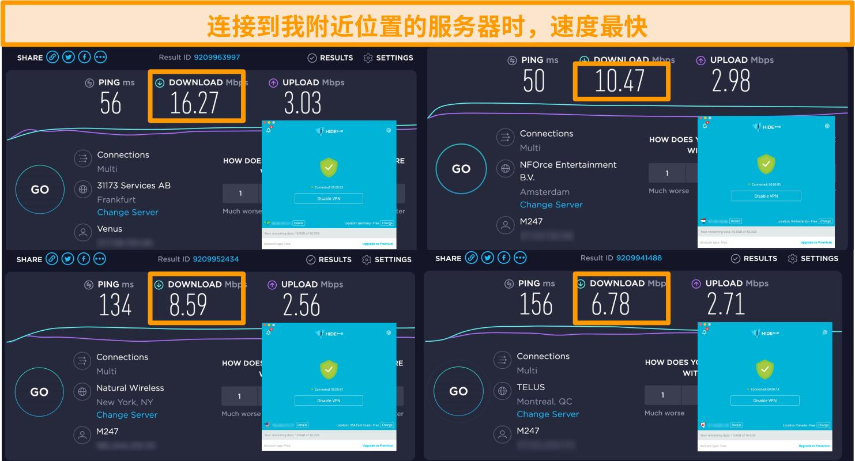 Hide.me VPN连接到德国,荷兰,美国和加拿大的服务器的屏幕快照以及速度测试结果