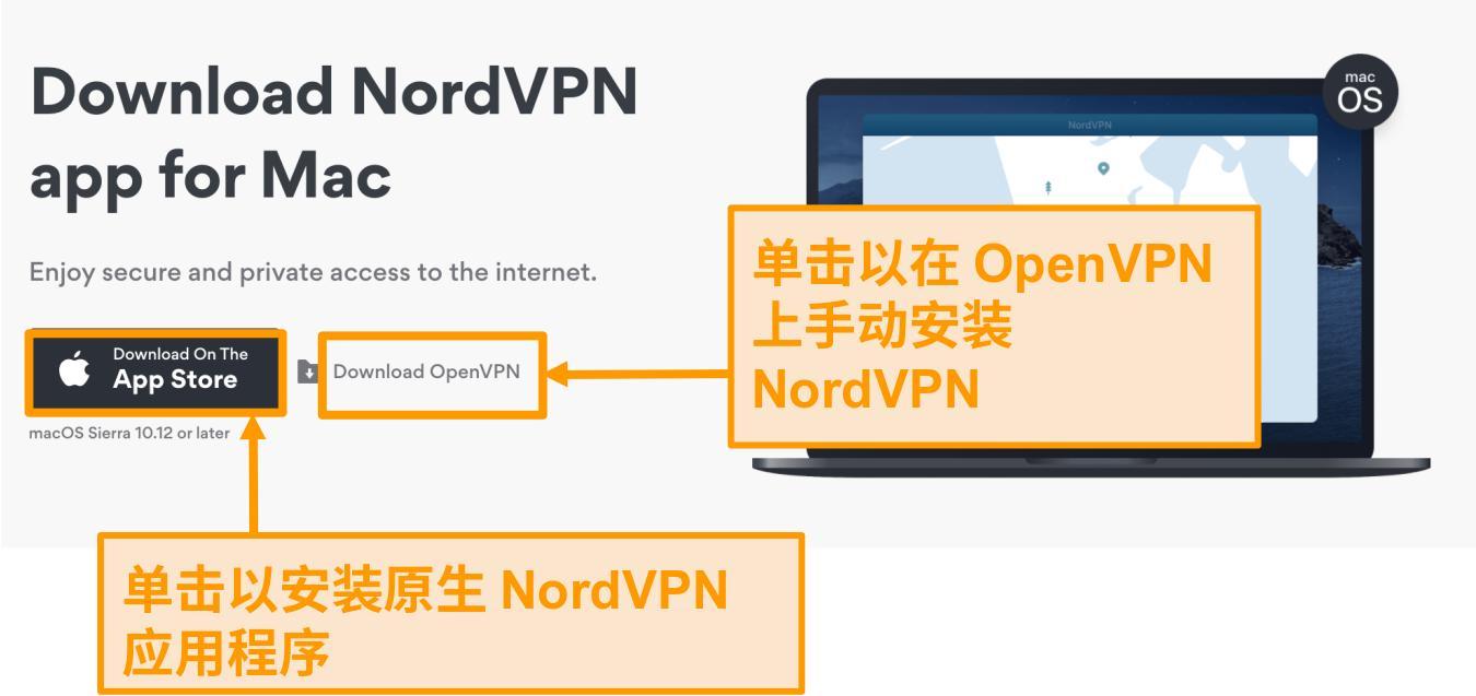 适用于App Store应用程序或OpenVPN应用程序的NordVPN下载页面的屏幕截图