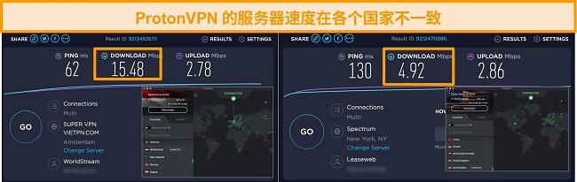 ProtonVPN屏幕截图连接到荷兰和美国,并提供了速度测试结果