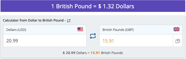 British Pound US Dollar conversion