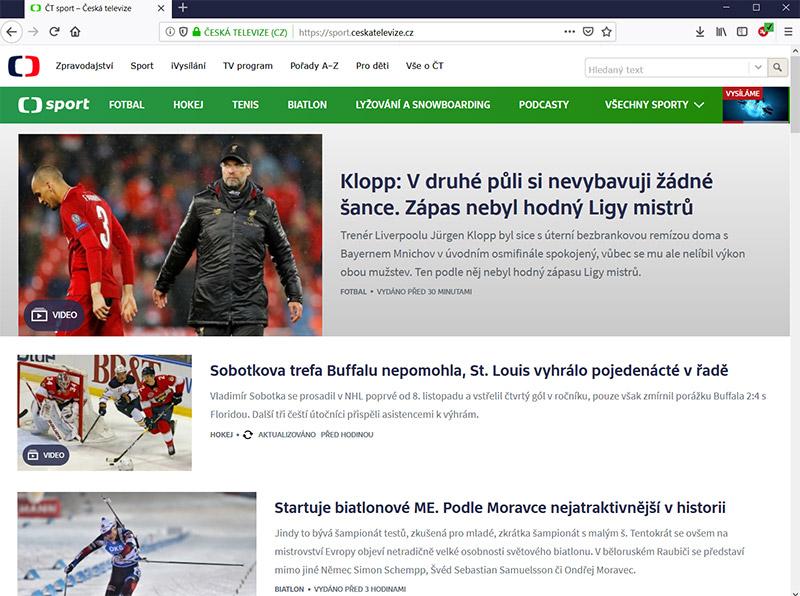 4038ed7f1 Jak sledovat ČT Sport zdarma mimo Českou republiku