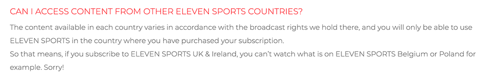 Eleven Sports access content other countries vpn