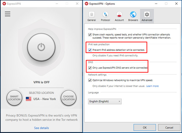 ExpressVPN dns leak protection