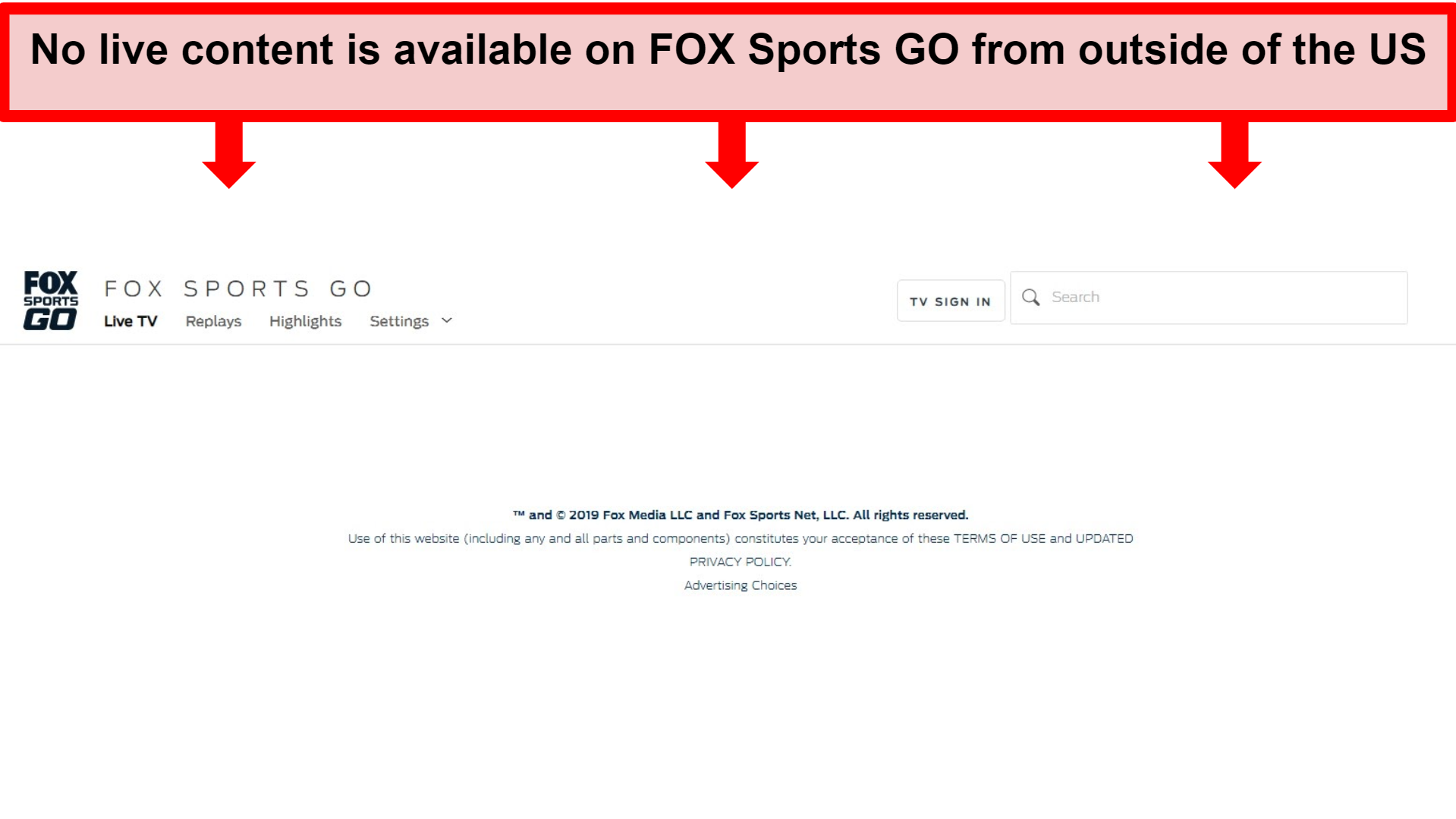 Screenshot of FOX Sports GO homepage with no content available
