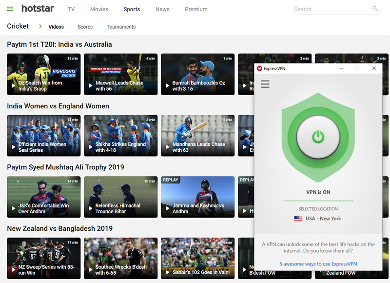 HotStar cricket stream vpn