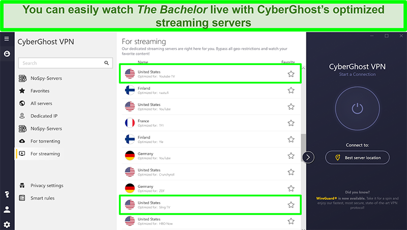 Screenshot of CyberGhost's optimized streaming servers with highlighted servers in the US optimized for YouTube TV and Sling TV