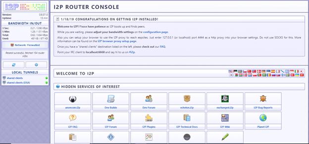 I2P dashboard