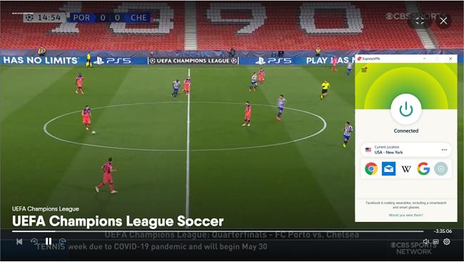 Screenshot of ExpressVPN unblocking the UEFA Champions League game