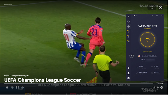 Screenshot of CyberGhost unblocking the UEFA Champions League game