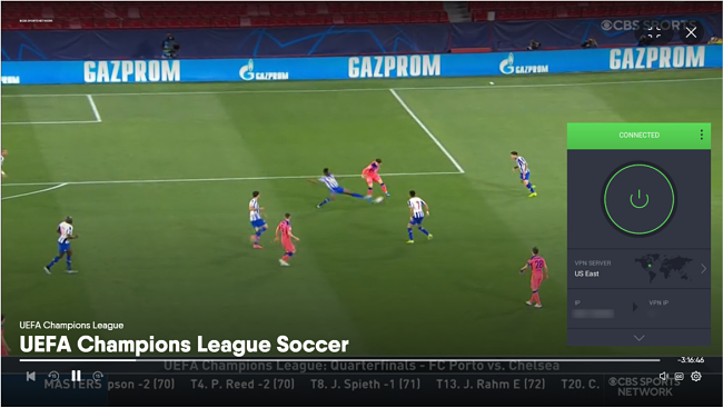 Screenshot of PIA unblocking the UEFA Champions League game