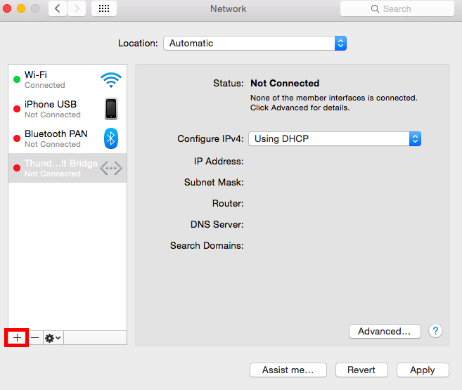 Mac network window plus button