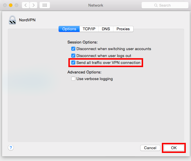 Mac Send all traffic over VPN connection