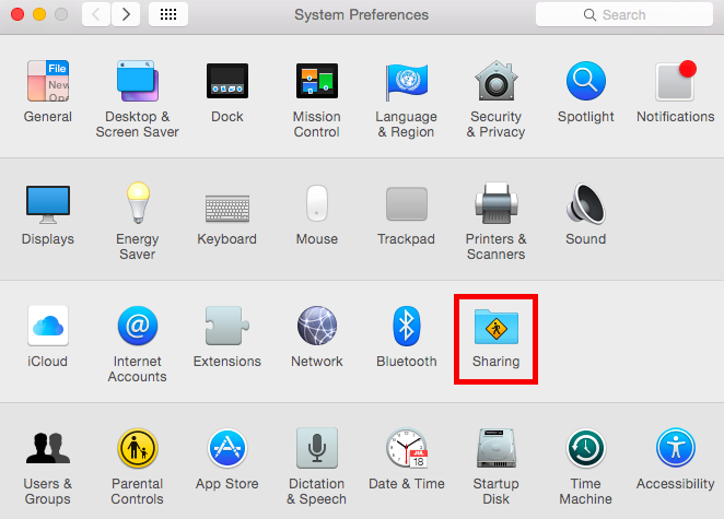 Mac System Preferences and select Sharing