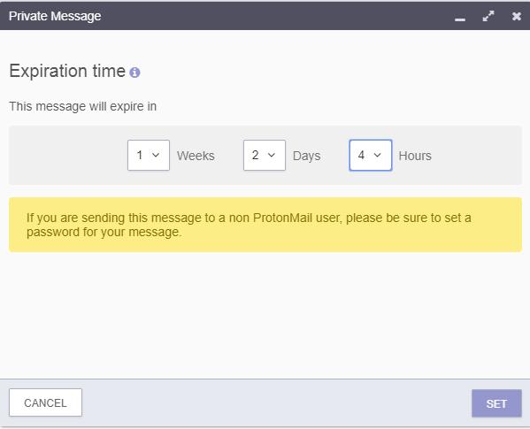 ProtonMail message expiration