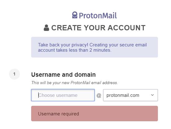 ProtonMail username