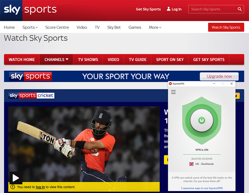 SkySports cricket watch from anywhere vpn