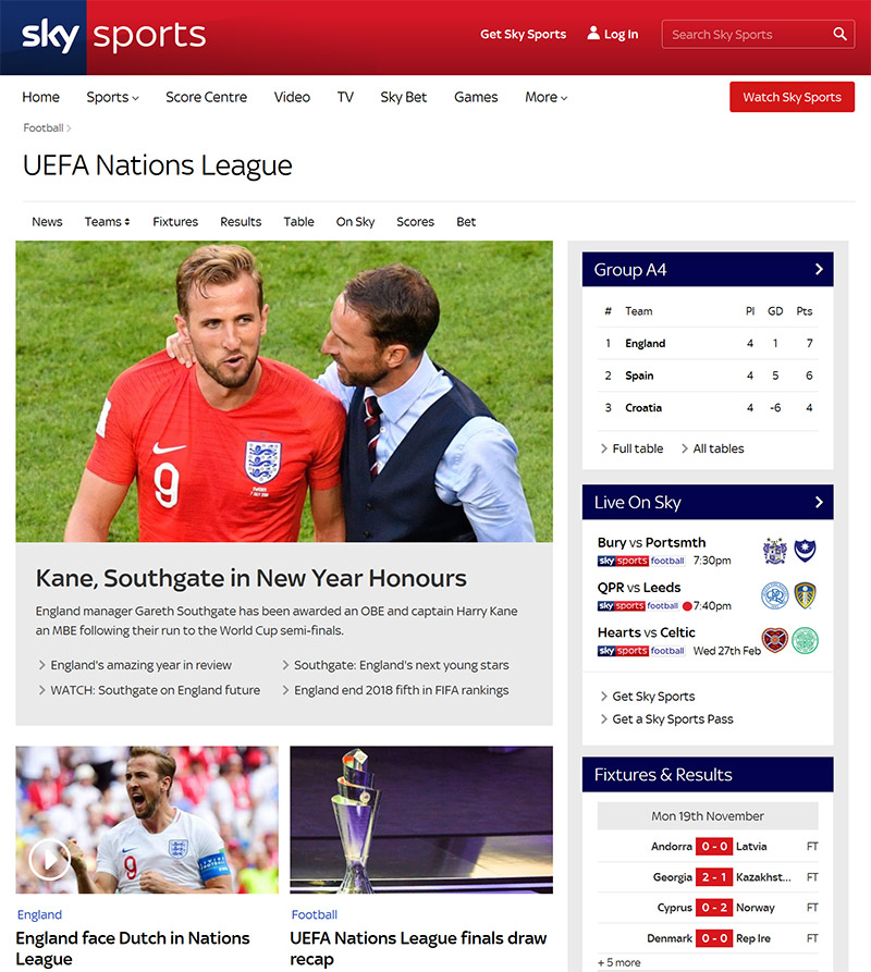 SkySports UEFA Nations League watch vpn
