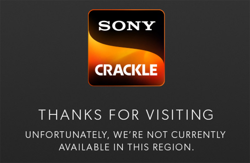 Sony Crackle geoblock message