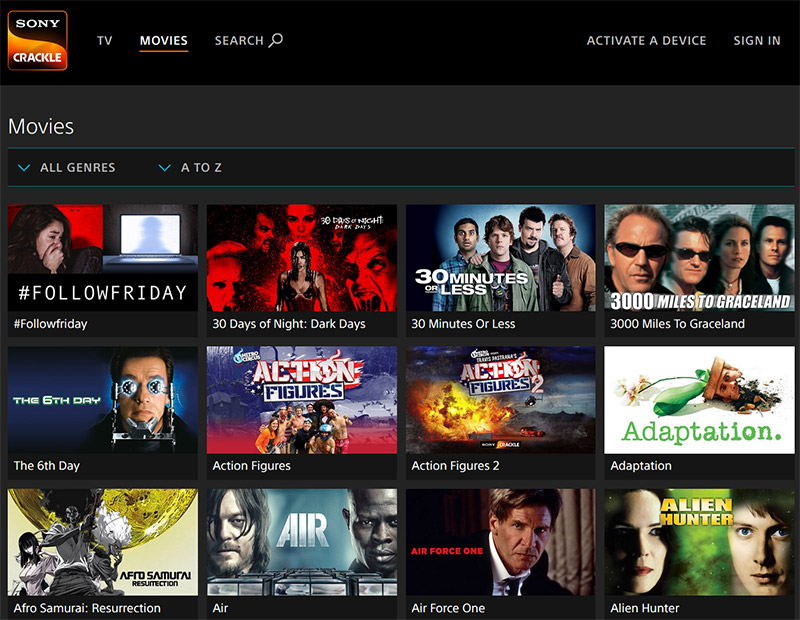 Sony Crackle movies online