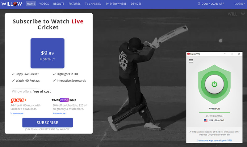 WillowTV cricket watch online anywhere vpn