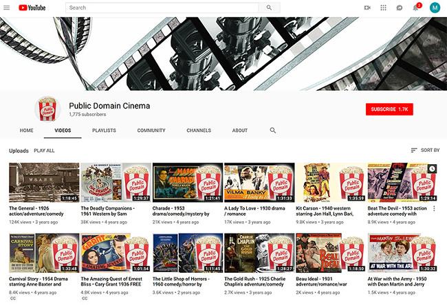 YouTube public domain cinema streaming movies