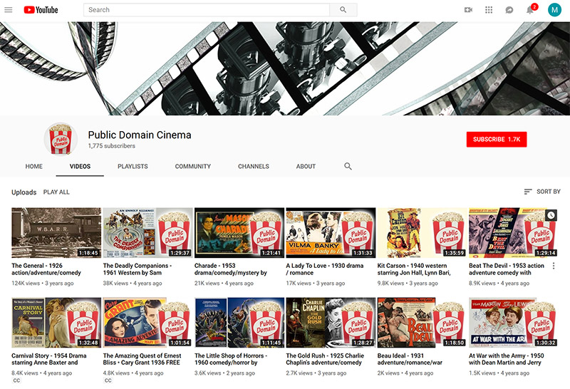 YouTube public domain cinema streaming movies