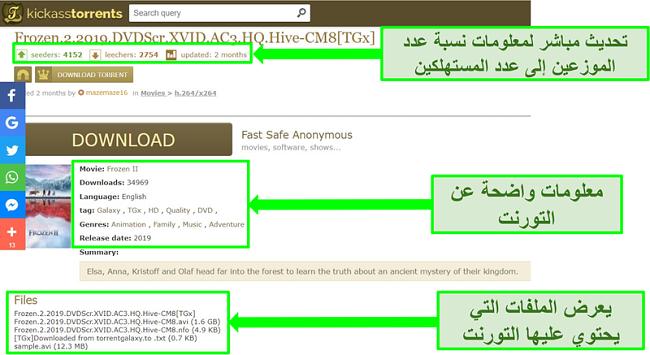 لقطة شاشة لصفحة تنزيل Kickass Torrents