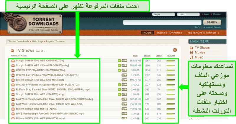 لقطة شاشة للصفحة المقصودة لـ TorrentDownloads