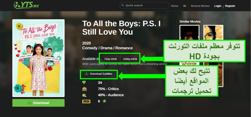لقطة شاشة لصفحة YTS المقصودة
