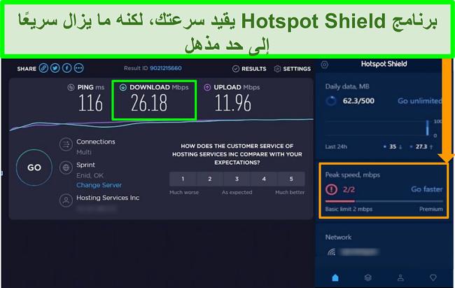 لقطة شاشة لنتائج اختبار السرعة أثناء الاتصال بواجهة Hotspot Shield