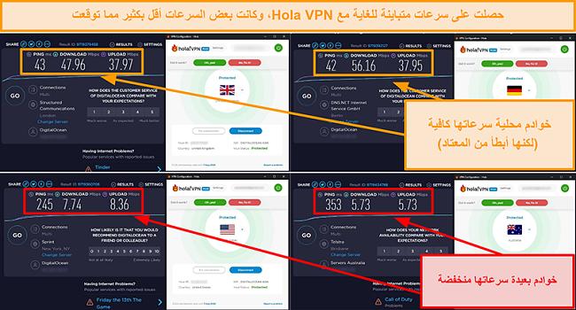لقطة شاشة لاختبارات سرعة Hola VPN من المملكة المتحدة (47 ميجابت في الثانية) وألمانيا (56 ميجابت في الثانية) والولايات المتحدة (7 ميجابت في الثانية) وأستراليا (5 ميجابت في الثانية)