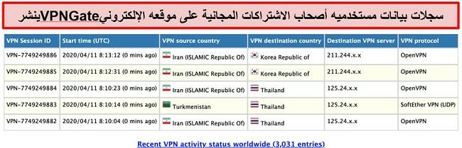 لقطة شاشة لسجلات مستخدم VPNGate على موقع الويب