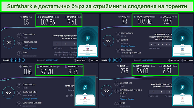 Снимки на резултатите от теста за скорост на Ookla с Surfshark, свързан към различни глобални сървъри