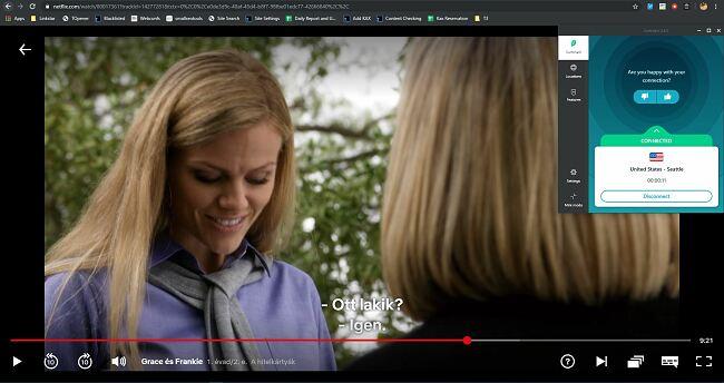 képernyőképe a netflixről a Surfshark-nal -