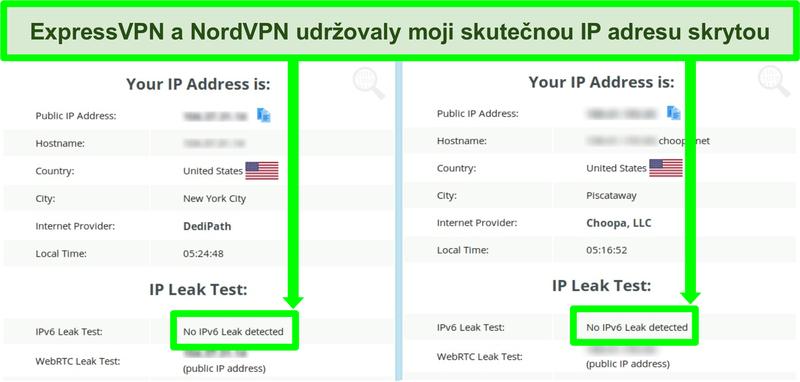 Screenshot zobrazující žádný únik IPv6 pro NordVPN i ExpressVPN