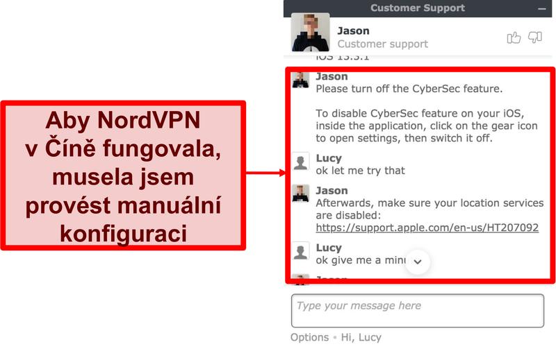 Screenshot chatu s NordVPN s žádostí o radu, jak zajistit, aby aplikace fungovala v Číně