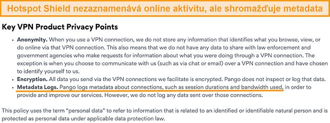 Screenshot zásad ochrany osobních údajů Hotspot Shields