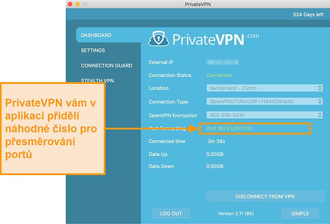 Screenshot aplikace PrivateVPN s číslem přesměrování portů viditelným v aplikaci pro Mac