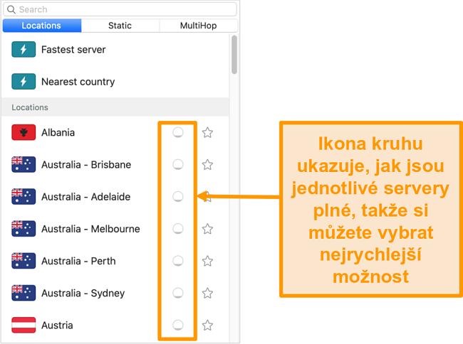 Screenshot ze seznamu serverů Surfsharku, který zobrazuje zatížení serveru