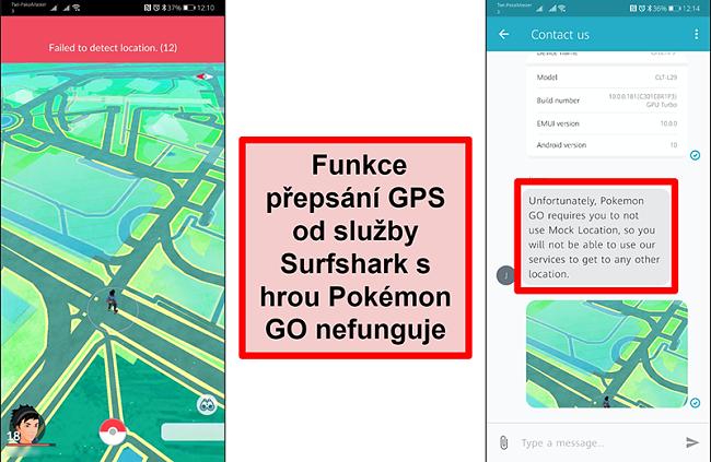 Screenshoty zákaznické služby Surfshark potvrzující Pokémon Go nefunguje s GPS spoofingem, přičemž snímek obrazovky Pokémon Go ukazuje, že nedokáže zjistit aktuální polohu