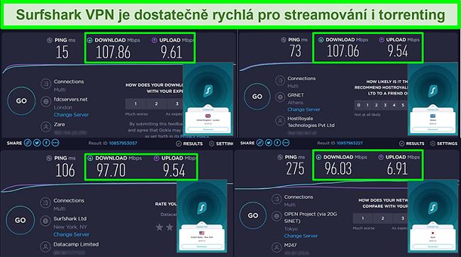 Screenshoty výsledků testů rychlosti Ookla s Surfsharkem připojeným k různým globálním serverům