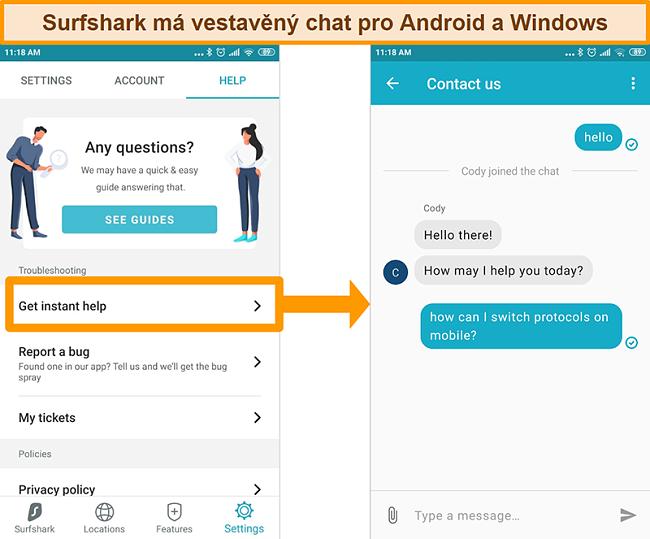 Screenshot vestavěné funkce živého chatu Surfsharku v aplikaci pro Android